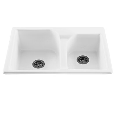 Reliance 33.25 x 21.75 Discovery Double Bowl Kitchen Sink Finish: White, Faucet Drillings: 4 Holes