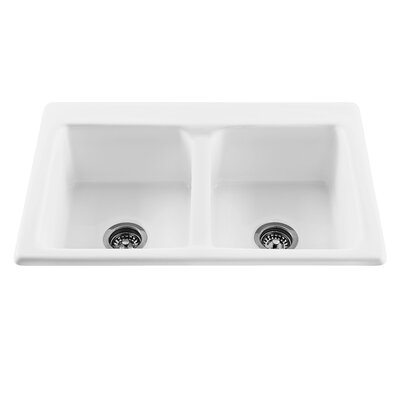 Reliance 33.25 x 22.25 Endurance Double Bowl Kitchen Sink Finish: Sterling Silver, Faucet Drillings: 4 Holes