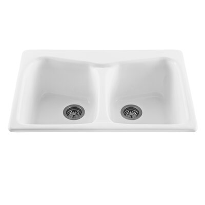 Reliance 33 x 22 Colonial Double Bowl Kitchen Sink Finish: Sterling Silver, Faucet Drillings: 1 Hole