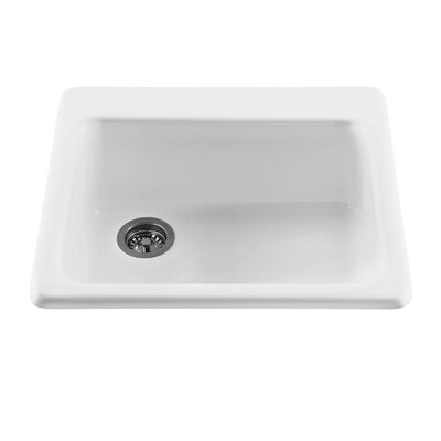 Reliance 25 x 22.25 Simplicity Single Bowl Kitchen Sink Finish: White, Faucet Drillings: 4 Holes