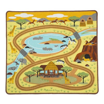 Round the Savanna Safari Yellow Area Rug 9428