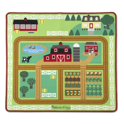 Round the Barnyard Farm Red Area Rug
