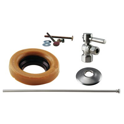 Toilet Kit with Stop and Wax Ring Lever Handle Finish: Satin Nickel