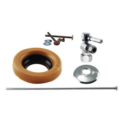 Toilet Kit with Stop and Wax Ring Lever Handle Finish: Polished Chrome