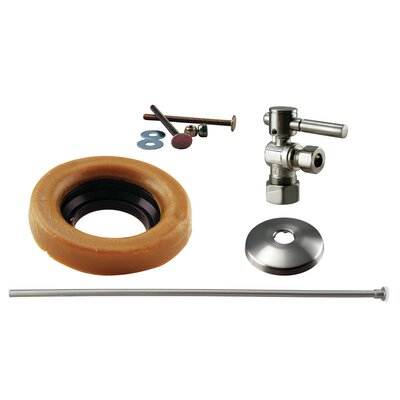 Toilet Kit with Turn Nominal Compression Stop and Wax Ring - Lever Handle Finish: Satin Nickel