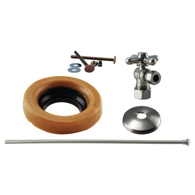 Toilet Kit with Turn Nom Comp Stop and Wax Ring Cross Handle Finish: Satin Nickel
