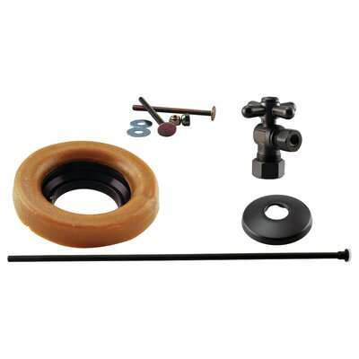 Toilet Kit with Turn Nom Comp Stop and Wax Ring Cross Handle Finish: Oil Rubbed Bronze