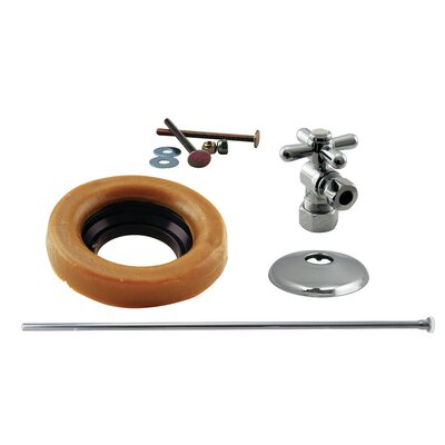 Toilet Kit with Turn Nom Comp Stop and Wax Ring Cross Handle Finish: Polished Chrome
