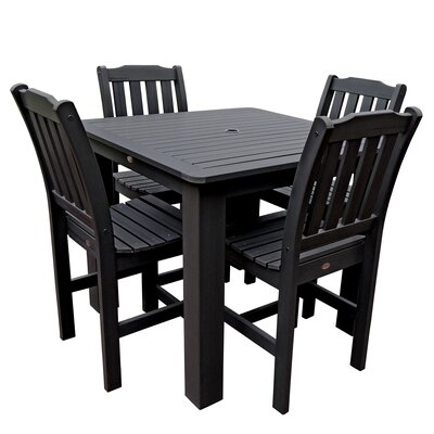 Phat Tommy 5 Piece Dining Set Finish: Black, Table Size: 42 L x 42 W x 36 H