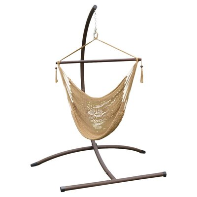 Phat Tommy Patio Garden Chair Hammock with Stand Color: Tan