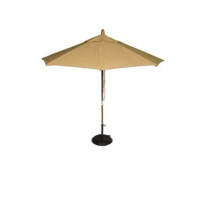 9' Phat Tommy Market Patio Umbrella Pole Material: Marenti Wood, Fabric: Brass