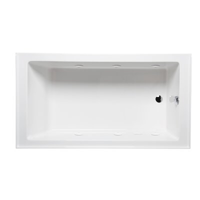 Turo 60 x 30 with Luxury Series System Alcove/Tile in Whirlpool Tub Color: White, Drain Location: Left