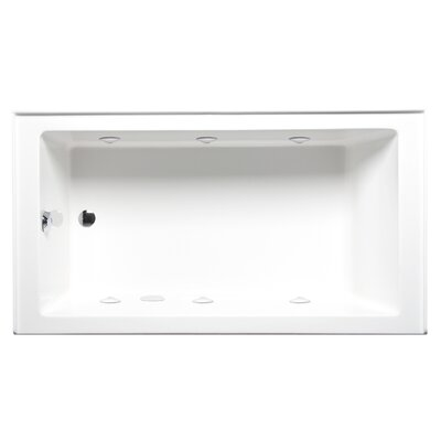 Turo 60 x 30 Alcove/Tile in Whirlpool Tub with Builder Series System Drain Location: Right, Color: Biscuit