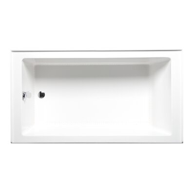 Turo 60 x 30 with Airbath II System Alcove/Tile in Soaking Bathtub Color: Biscuit, Drain Location: Left