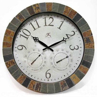 IndoorOutdoor 18 Weather Clock With Slate Mosaic Border