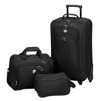 Travelers Club EuroValue II 3 Piece Rolling Luggage Set - Color: Black at Sears.com
