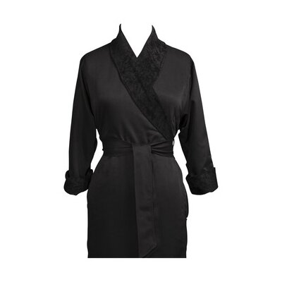 Telegraph Hill Luxury Double Layer Silky Microfiber Spa Bathrobe Color: Black, Size: X-Large