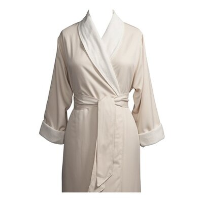 Telegraph Hill Luxury Double Layer Silky Microfiber Spa Bathrobe Size: Small, Color: Natural
