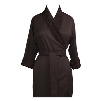 Telegraph Hill Luxury Double Layer Silky Microfiber Spa Bathrobe Size: Small, Color: Chocolate