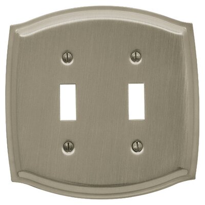 Colonial Design Double Toggle Switch Plate Color: Satin Nickel