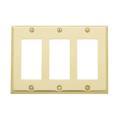 Classic Square Bevel Design Triple GFCI Switch Plate Finish: Satin Nickel