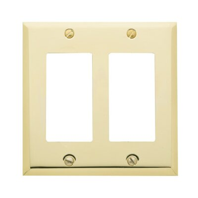 Classic Square Bevel Design Double GFCI Switch Plate Color: Polished Brass