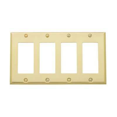 Classic Square Bevel Design Quad GFCI Switch Plate Color: Polished Brass