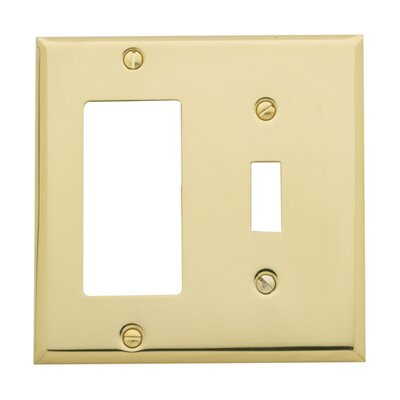Classic Square Bevel Design Combination of Single GFCI and Toggle Switch Plate Finish: Polished Brass