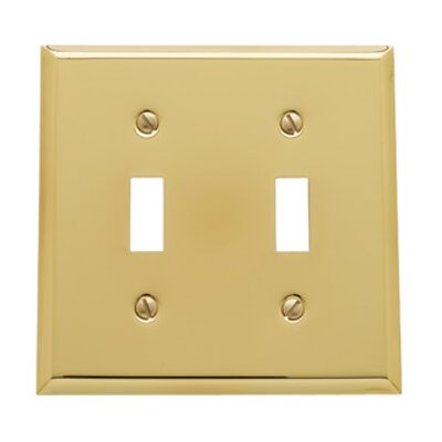 Classic Square Bevel Design Double Toggle Switch Plate Finish: Polished Brass