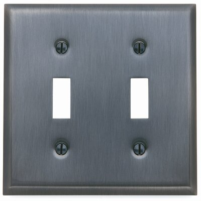Classic Square Bevel Design Double Toggle Switch Plate Finish: Satin Nickel