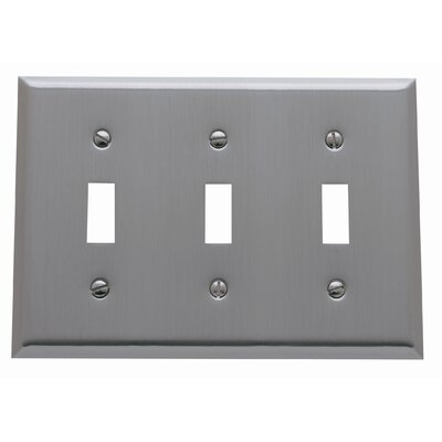 Classic Square Bevel Design Triple Toggle Switch Plate Finish: Venetian Bronze
