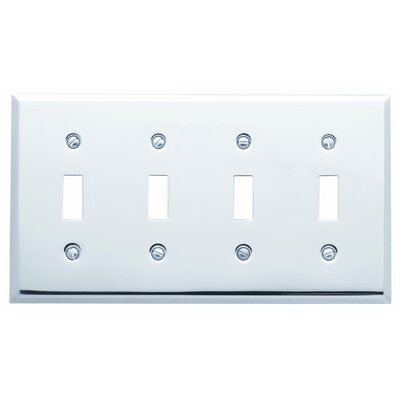 Classic Square Bevel Design Quad Toggle Switch Plate Color: Satin Nickel