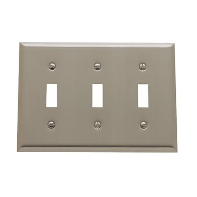 Classic Square Bevel Design Triple Toggle Switch Plate Finish: Satin Nickel