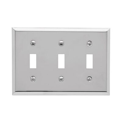 Classic Square Bevel Design Triple Toggle Switch Plate Color: Chrome