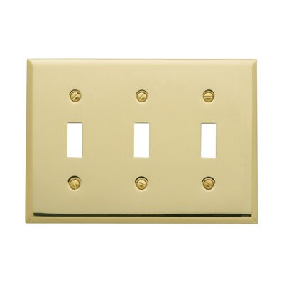 Classic Square Bevel Design Triple Toggle Switch Plate Finish: Polished Brass