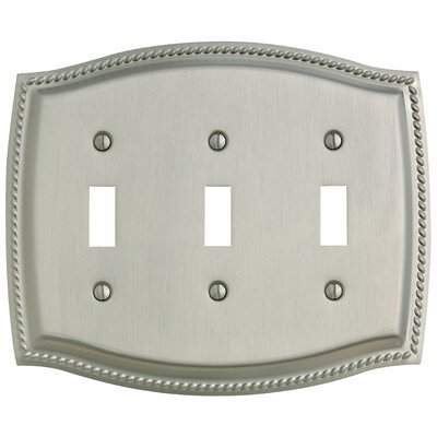 Rope Design Triple Toggle Switch Plate in Venetian Bronze