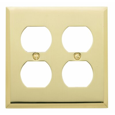 Classic Square Bevel Design Double Duplex Switch Plate Finish: Bright Chrome, Size: 7.4 H x 5.6 W x 0.3 D