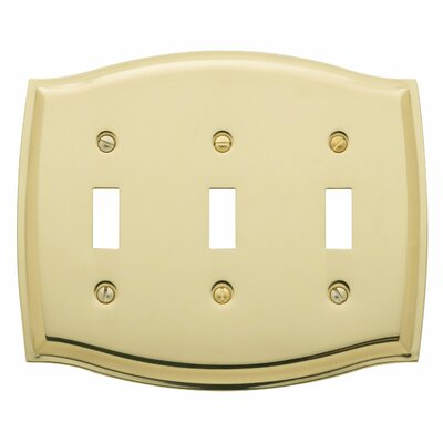 Colonial Design Triple Toggle Switch Plate Color: Polished Brass