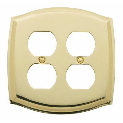 Colonial Design Double Duplex Switch Plate Color: Polished Brass, Size: 8.25 H x 5.38 W x 0.2 D