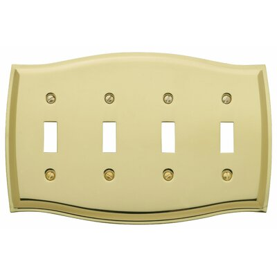 Colonial Design Quad Toggle Switch Plate Color: Satin Nickel