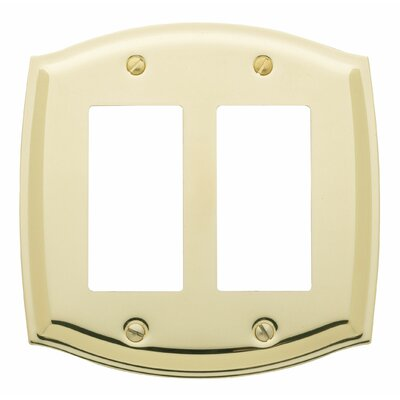 Colonial Design Double GFCI Switch Plate Finish: Polished Brass, Size: 5.13 H x 5.13 W x 0.3 D