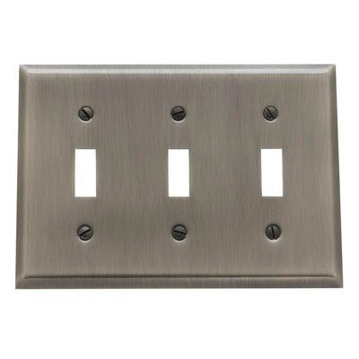 Classic Square Bevel Design Triple Toggle Switch Plate Color: Antique Nickel