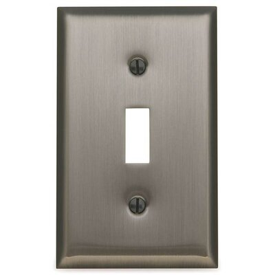 Classic Square Bevel Design Single Toggle Switch Plate Color: Antique Nickel