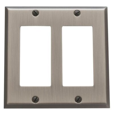 Classic Square Bevel Design Double GFCI Switch Plate Finish: Antique Nickel
