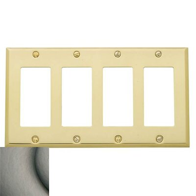 Classic Square Bevel Design Quad GFCI Switch Plate Color: Satin Nickel