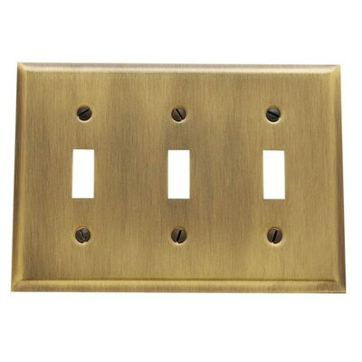 Classic Square Bevel Design Triple Toggle Switch Plate Color: Antique Brass