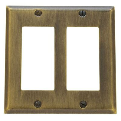 Classic Square Bevel Design Double GFCI Switch Plate Finish: Antique Brass