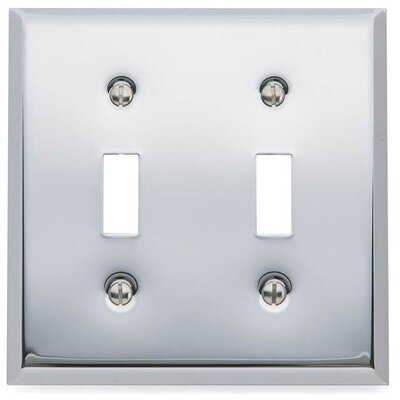 Classic Square Bevel Design Double Toggle Switch Plate Color: Bright Chrome