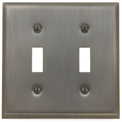 Classic Square Bevel Design Double Toggle Switch Plate Color: Antique Nickel