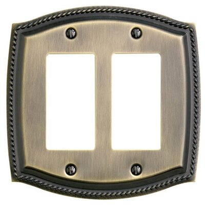Rope Design Double GFCI Switch Plate Finish: Antique Brass